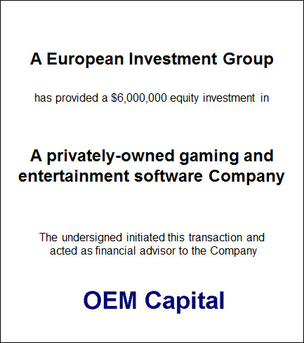 Private Gaming and Entertainment Software Company